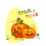 Halloween two pumpkin with sweet smiles Royalty Free Stock Photos