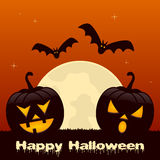 Halloween with Two Pumpkins and Bats Royalty Free Stock Photography