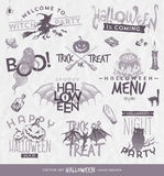 Halloween type design set. With hand drawn elements Stock Images
