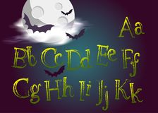 Halloween Typeset. Spooky Vector Font for Halloween Party. Grunge Green Hand Drawn Alphabet. Cartoon Typography for Greeting Card, Poster, Banner, Invitation royalty free illustration