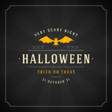 Halloween Typographic Design Vector Background and. Vintage Happy Halloween Typographic Design Vector Background and Bat Stock Photo