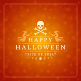 Halloween Typographic Design Vector Background and. Vintage Happy Halloween Typographic Design Vector Background and Skull Stock Images