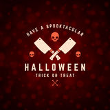 Halloween Typographic Design Vector Background and. Vintage Happy Halloween Typographic Design Vector Background and Skull Royalty Free Stock Images