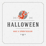 Halloween Typographic Design Vector Background and. Vintage Happy Halloween Typographic Design Vector Background and Witch Royalty Free Stock Photography