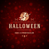 Halloween Typographic Design Vector Background and. Vintage Happy Halloween Typographic Design Vector Background and Witch Royalty Free Stock Photo