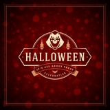 Halloween Typographic Greeting Card Design Vector Background. Stock Photo