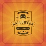 Halloween Typographic Greeting Card Design Vector Background. Stock Images