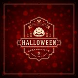 Halloween Typographic Greeting Card Design Vector Background. Stock Photos