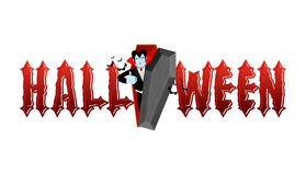 Halloween typography. Dracula in his coffin. Logo for scary holiday. Vampire and lettring stock illustration