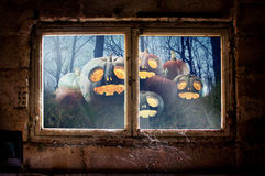 Halloween uit venster Stock Foto's