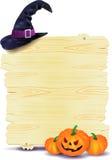 Halloween-uithangbord met pompoenen en hoed Royalty-vrije Stock Afbeeldingen