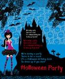Halloween-uitnodiging met mooie heks Stock Fotografie