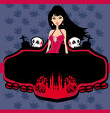 Halloween-uitnodiging met mooie vrouwelijke vampi Stock Fotografie