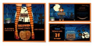 Halloween-uitnodigingskaart met een leuk meisje wordt geplaatst dat stock illustratie