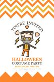 Halloween-uitnodigingskaart voor carto van het de partij leuke jonge geitje van de kostuumnacht stock illustratie