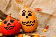 Halloween uma abóbora alegre de Dia das Bruxas entre as folhas Fotografia de Stock Royalty Free