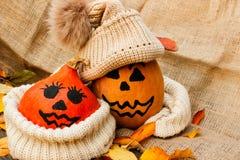 Halloween uma abóbora alegre de Dia das Bruxas entre as folhas Imagens de Stock
