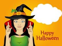 Halloween Una giovane donna in un cappello ed in un vestito della strega attraversati illustrazione vettoriale