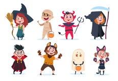 Halloween ungar Tecknad filmbarn i halloween dräkter Roliga flickor och pojkar på partivektorn isolerade charactres stock illustrationer