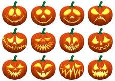 halloween Upps?ttning av olika pumpor bakgrund isolerad white vektor illustrationer