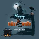 Halloween, vacances, conception avec le crâne fantasmagorique portant une corneille sur le chaudron de dessus et de sorcières illustration de vecteur