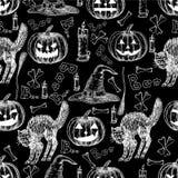 Halloween-vakantie vector naadloos patroon van Halloween Royalty-vrije Stock Foto