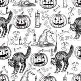 Halloween-vakantie vector naadloos patroon van Halloween-doodsmaaimachine, griezelig spook, zwarte kat, knuppel, skeletschedel, h Stock Afbeeldingen