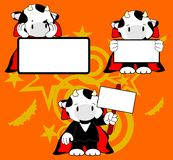 Halloween vampire costume cow cartoon set Stock Photos