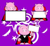 Halloween vampire costume pig cartoon set Stock Photos