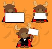 Halloween vampire costume reindeer cartoon set Stock Photo