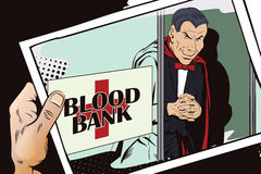 Halloween. Vampire at entrance to blood bank. Stock Photo