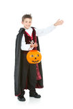 Halloween: Vampire Gestures to Side. Halloween series with cute children dressed as Dracula, a pirate, and Little Red Riding Hood.  Isolated on white Stock Images