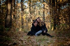 Halloween is a vampire and killer in the woods royalty free stock photos