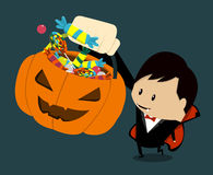 Halloween-vampire. Little child vampire asking for some candies Stock Photography