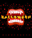Halloween vampire screaming. ghoul mouth with sharp teeth. Poste Royalty Free Stock Photos