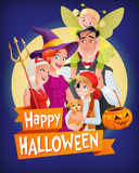 Halloween vampire, witch, devil, pirate, fairy. Vector family with text. Cute cartoon family with three kids in Halloween costumes vampire, witch, devil, pirate Stock Photo