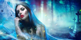 Halloween vampire woman portrait royalty free stock photography