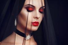 Halloween vampire woman portrait stock images