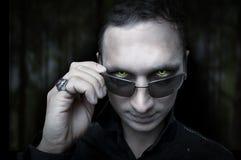 Halloween. Vampiro di notte ed occhi wolfman Fotografia Stock Libera da Diritti