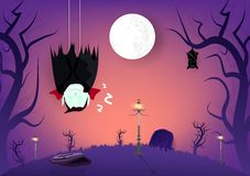 Halloween, vampiro e pipistrelli addormentati nei caratteri scuri del burattino del fumetto della foresta del cimitero, estratto  illustrazione vettoriale