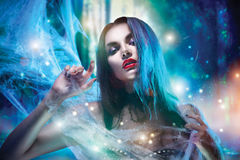Halloween-Vampirsfrauenporträt Lizenzfreie Stockfotos