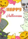 Halloween-van beeldverhaaltekens en Symbolen kaartkader Royalty-vrije Stock Foto's