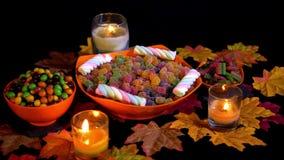 Halloween-van de dag divers suikergoed en esdoorn animatie stock footage