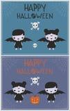 Halloween-van de jonge geitjesillustraties van het Vampierkostuum gelukkige de groetkaart Royalty-vrije Stock Foto