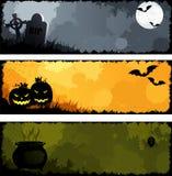 Halloween van Grunge banners Stock Afbeeldingen