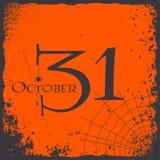 Halloween 31 van het de kaartembleem van Oktober de uitstekende vectorachtergrond Royalty-vrije Illustratie