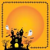 Halloween-van het het silhouetkasteel van het stickerelement de oranje achtergrond royalty-vrije illustratie