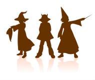 Halloween van kinderen silhouetten Royalty-vrije Stock Foto