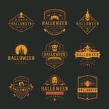 Halloween-van Vieringsemblemen en kentekens ontwerp vastgestelde vectorillustratie Royalty-vrije Stock Foto's