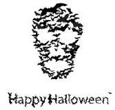 Halloween vecrot card : skull shape of bats Stock Photo